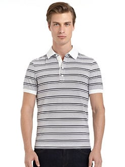 BLACK Saks Fifth Avenue - Ice Cotton Striped Polo Shirt/Slim-Fit