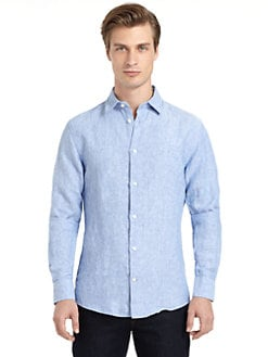 BLUE Saks Fifth Avenue - Linen Button-Front Shirt/Island Blue