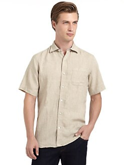 BLUE Saks Fifth Avenue - Short-Sleeve Button-Front Linen Shirt/Beige