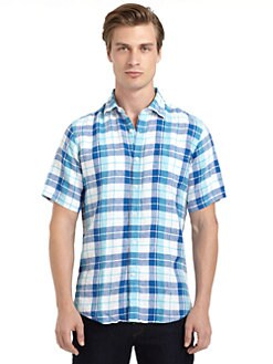 BLUE Saks Fifth Avenue - Linen Plaid Button Front Shirt
