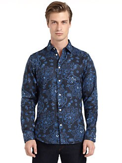 BLUE Saks Fifth Avenue - Linen Paisley Button Front Shirt