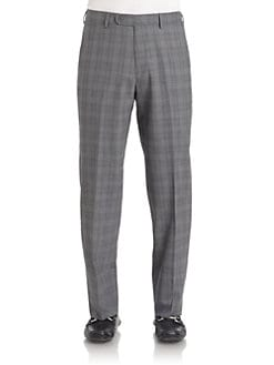 BLACK Saks Fifth Avenue - Wool Plaid Trousers