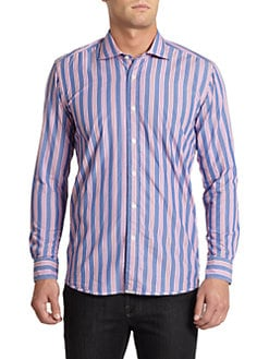BLACK Saks Fifth Avenue - Two-Tone Multi-Striped Cotton Button-Front Shirt