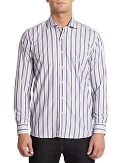 BLACK Saks Fifth Avenue - Multi-Striped Cotton Button-Front Shirt