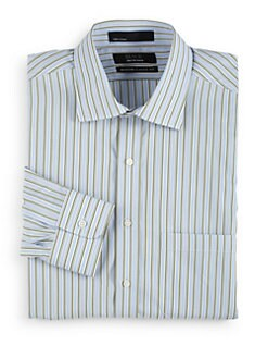 BLACK Saks Fifth Avenue - Striped Cotton Button-Front Shirt/Modern Classic Fit