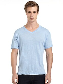 BLUE Saks Fifth Avenue - Linen V-Neck Tee