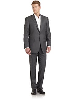 BLACK Saks Fifth Avenue - Pinstriped Wool & Silk Suit