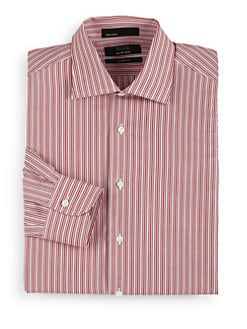 BLACK Saks Fifth Avenue - Tonal Stripe Cotton Button-Front Shirt/Slim-Fit