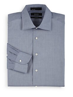 BLACK Saks Fifth Avenue - Chambray Cotton Button-Front Shirt/Slim-Fit