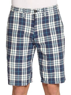 BLUE Saks Fifth Avenue - Plaid Cotton Shorts