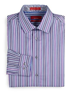 RED Saks Fifth Avenue - Striped Cotton Trim-Fit Shirt/Purple