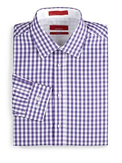 RED Saks Fifth Avenue - Gingham Cotton Trim-Fit Shirt/Purple