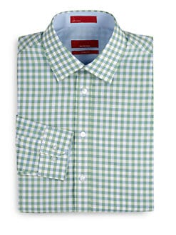 RED Saks Fifth Avenue - Gingham Cotton Trim-Fit Shirt/Green