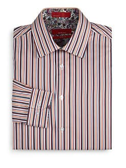 RED Saks Fifth Avenue - Striped Cotton Trim-Fit Shirt/Orange