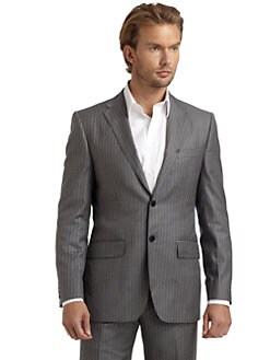 BLACK Saks Fifth Avenue - Striped Two-Button Suit