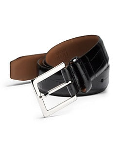 BLACK Saks Fifth Avenue - Crocodile-Embossed Leather Belt
