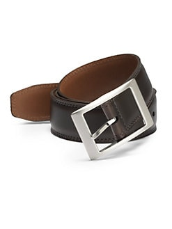 BLACK Saks Fifth Avenue - Glazed Leather Belt