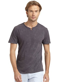 GRAY Saks Fifth Avenue - Distressed Split-Neck T-Shirt