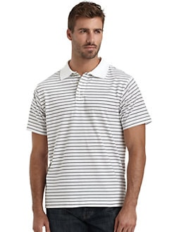 BLACK Saks Fifth Avenue - Striped Ice Cotton Polo Shirt