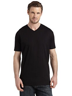 BLACK Saks Fifth Avenue - Classic Cotton V-Neck Tee