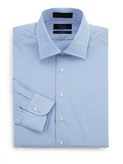 BLACK Saks Fifth Avenue - Mini-Gingham Cotton Dress Shirt/Slim Fit