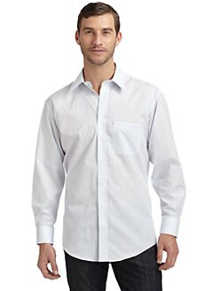 BLACK Saks Fifth Avenue - Cotton Woven Micro Windowpane Button-Down Shirt