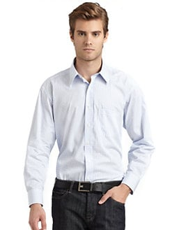BLACK Saks Fifth Avenue - Checked Modern Slim-Fit Shirt