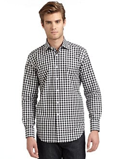 BLACK Saks Fifth Avenue - Gingham Slim-Fit Shirt