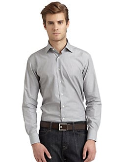 BLACK Saks Fifth Avenue - Pinstriped Slim-Fit Shirt