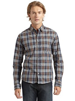 RED Saks Fifth Avenue - Plaid Cotton Button-Down Shirt