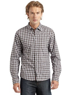 RED Saks Fifth Avenue - Cotton Check Button-Down Shirt/Brown