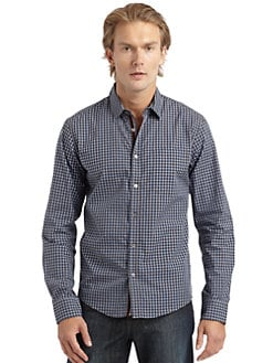 RED Saks Fifth Avenue - Cotton Check Button-Down Shirt
