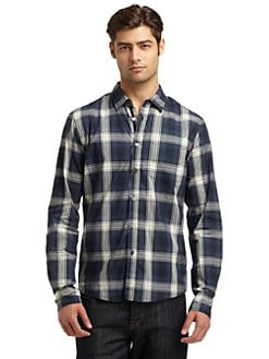 RED Saks Fifth Avenue - Cotton Plaid Shirt