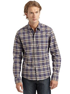 RED Saks Fifth Avenue - Cotton Check Button-Down Shirt/Brown & Purple