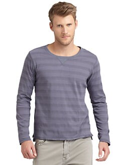 GRAY Saks Fifth Avenue - Double-Layer Striped Crewneck Tee