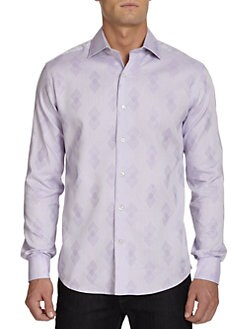 BLACK Saks Fifth Avenue - Diamond Jacquard Dress Shirt