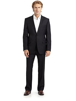 BLACK Saks Fifth Avenue - Wool Two-Button Slim-Fit Suit