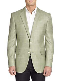 BLACK Saks Fifth Avenue - Windowpane Slim-Fit Jacket
