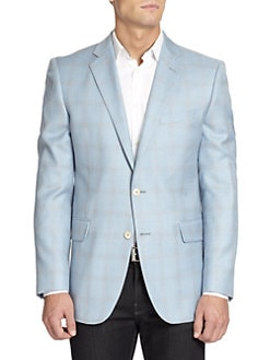 BLACK Saks Fifth Avenue - Two-Button Windowpane Slim-Fit Jacket