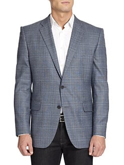 BLACK Saks Fifth Avenue - Two-Button Glen Plaid Wool Slim-Fit Jacket/Blue