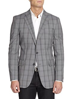 BLACK Saks Fifth Avenue - Two-Button Glen Plaid Wool Slim-Fit Jacket/Black-White