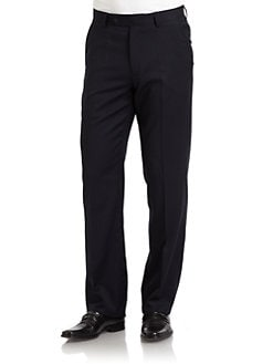 BLACK Saks Fifth Avenue - Wool Gabardine Pants/Navy