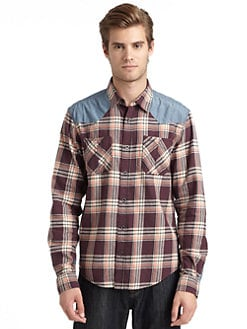 GRAY Saks Fifth Avenue - Cotton Plaid & Denim Button-Down Shirt