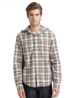 GRAY Saks Fifth Avenue - Hooded Check Shirt
