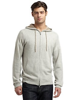 BLACK Saks Fifth Avenue - Cashmere Hooded Zip-Up Sweater