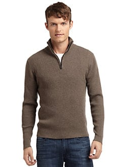RED Saks Fifth Avenue - Quarter-Zip Ribbed Sweater/Brown