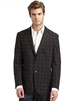 BLACK Saks Fifth Avenue - Plaid Blazer/Charcoal