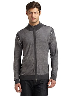 RED Saks Fifth Avenue - Merino Wool Faded Underprint Zip-Up
