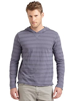 GRAY Saks Fifth Avenue - Double-Layer Striped Hoodie