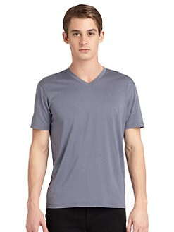 RED Saks Fifth Avenue - Silk & Cotton V-Neck Tee